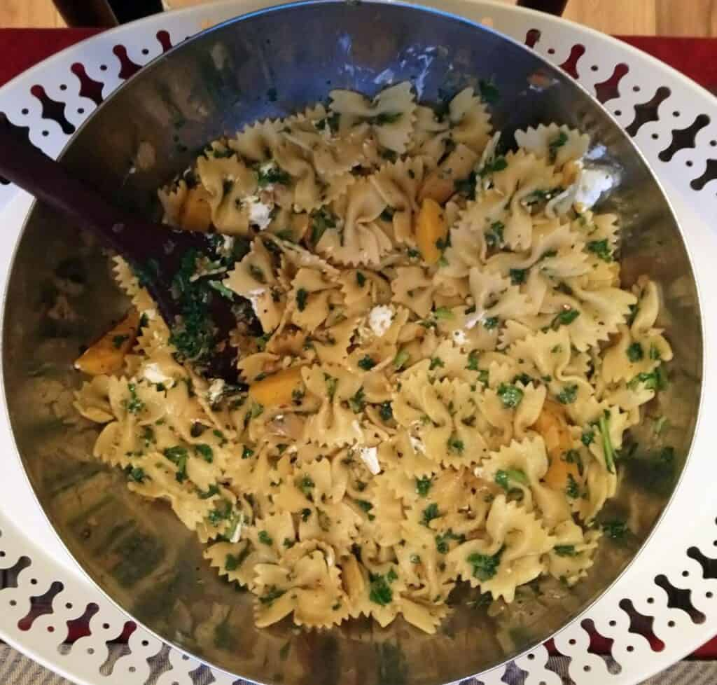 Farfalle with Golden Beets in aserving bowl
