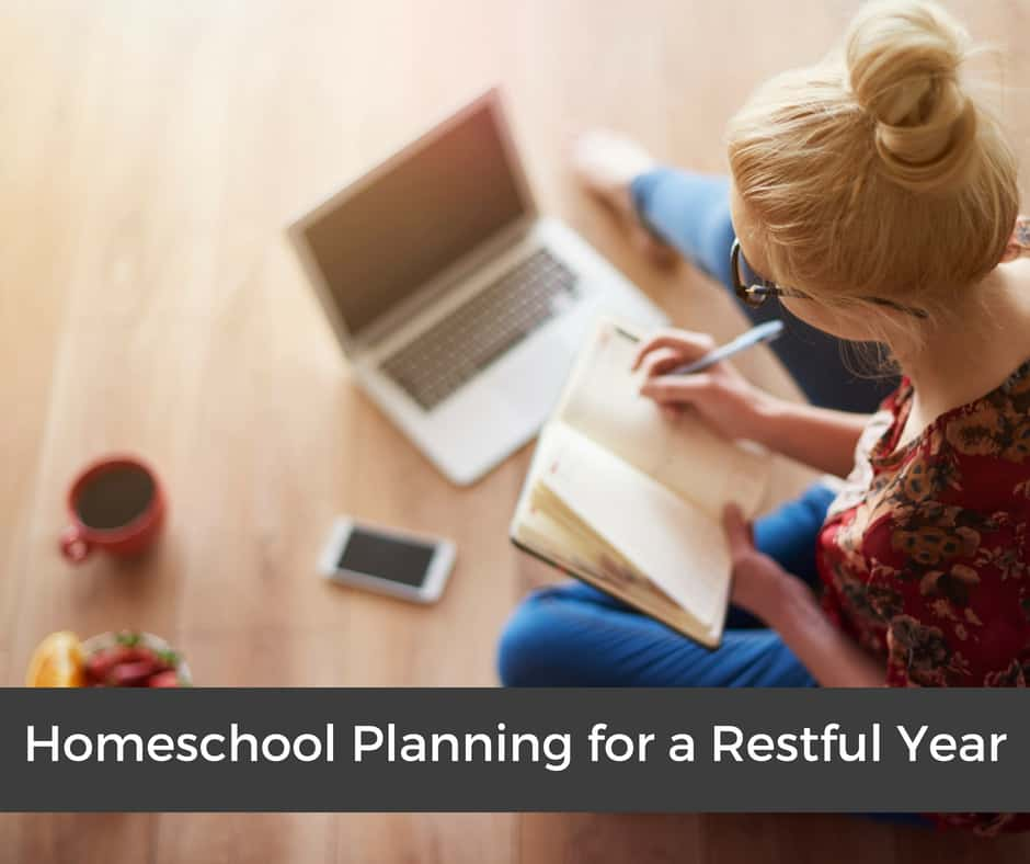 Homeschool planning: Tips and Ideas for a more restful year. sample weekly homeschooling schedule. Visit my free resources section for a printable version of a blank schedule. #homeschooling #homeschoolplanning #homeschoolingprintable #schedule #weeklyschedule