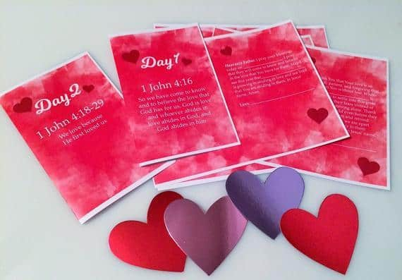 Printable Valentine's Day cards for kids with prayers based on John 1