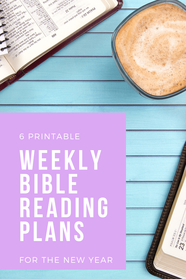 A bible, a cup of coffee, and a phone. Text overlay reads: 6 Printable weekly Bible Reading Plans for the New Year. Click the image to download a PDF of all 6 plans.