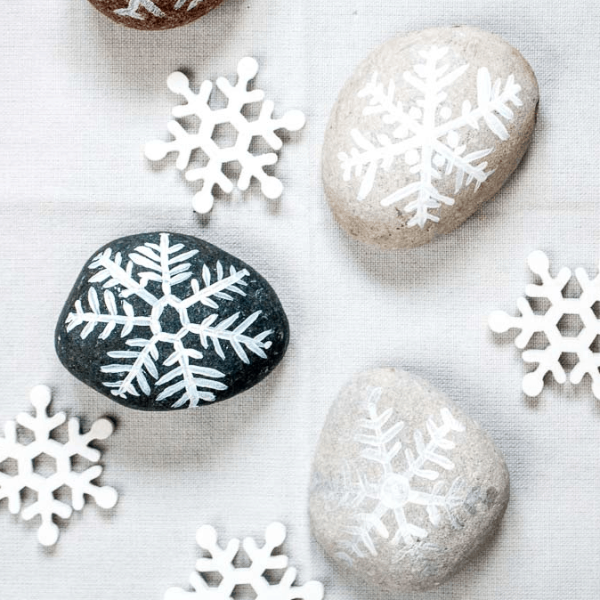 Festive Christmas Rock Painting