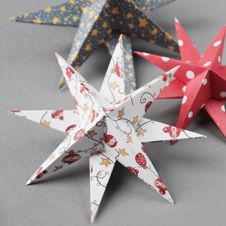 3D Paper Star Christmas Ornaments