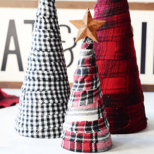 Rustic flannel Christmas trees