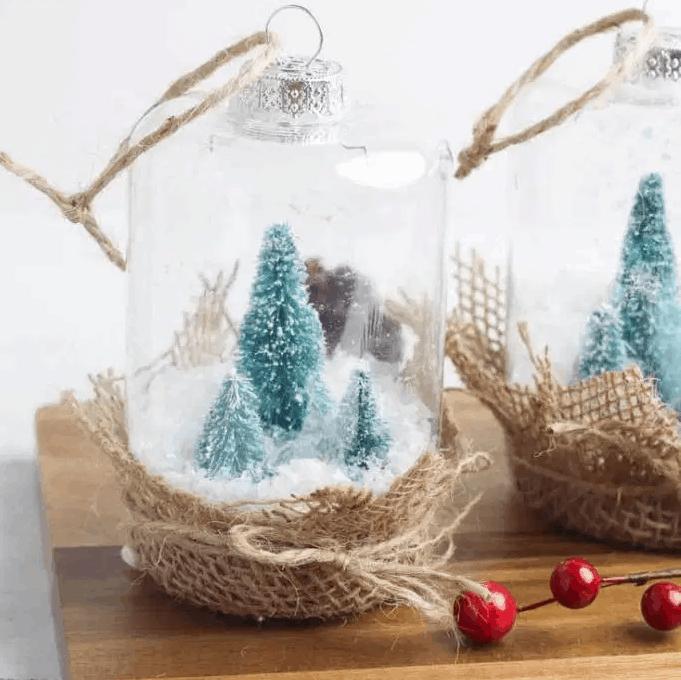 Rustic Farmhouse Snow Globe Ornament