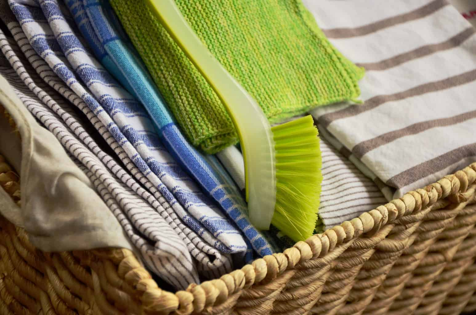 a basket of dishcloths. Follow these tips for saving money from a homesteader and get back to the basics when it comes to saving money.