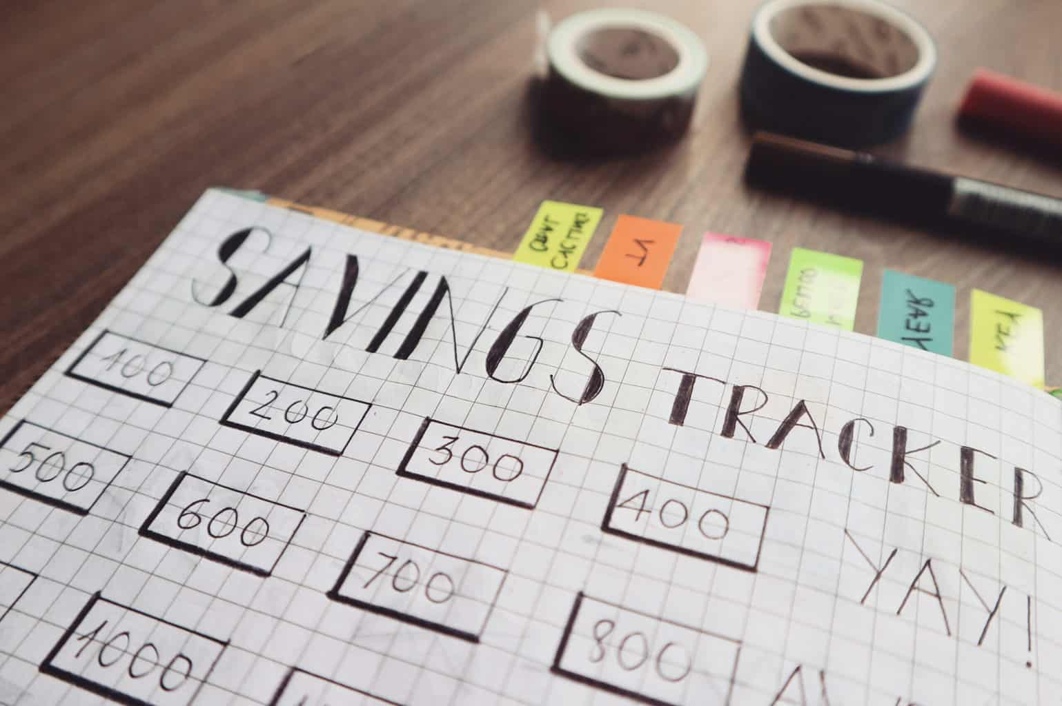 savings tracker spreadsheet on graph paper. Follow these tips for saving money in 2020